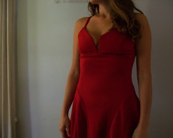 48 HOUR SALE 40% off-90's Party Dress- Red- Boobs ((Size 2-4))