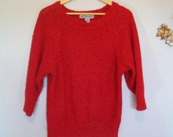 48 HOUR SALE 40% off-Vintage Bright Red Italian Sweater- Dolman Sleeve (( Size Small to Medium))