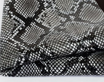 e9a2ea4c2c Black and White Snakeskin Print Genuine Leather, Exotic Texture Leather