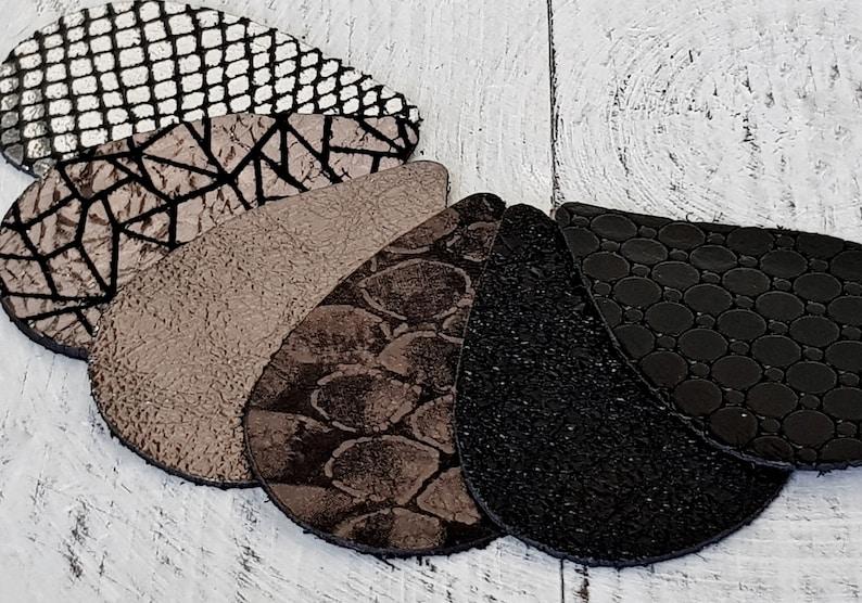 6 pairs 12pcs  Mixed Textures Leather Teardrops  Black Metallic Gray Metallic Siver  Genuine Leather