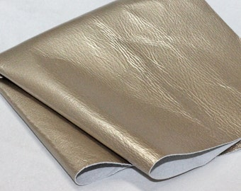 Champagne Genuine Leather, Metallic Pale Gold  Pigskin