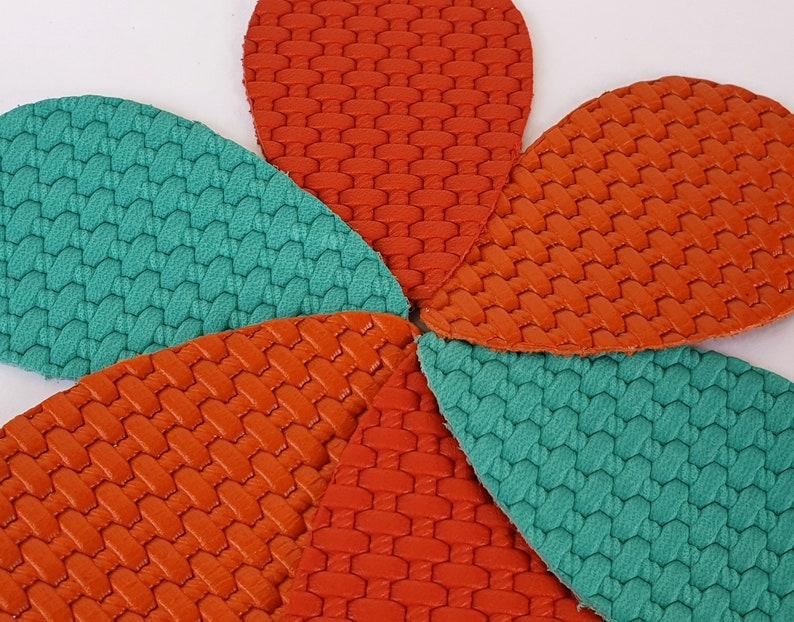12pcs LeatherTeardrops Weaved Texture Embossed Genuine Leather Earrings Blank