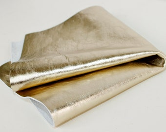 Metallic Pale Gold Genuine Leather