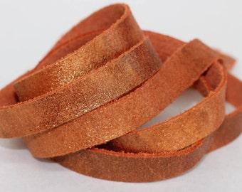 15mm  Metallic Genuine Leather Strap, Orange  Cow Skin Leather