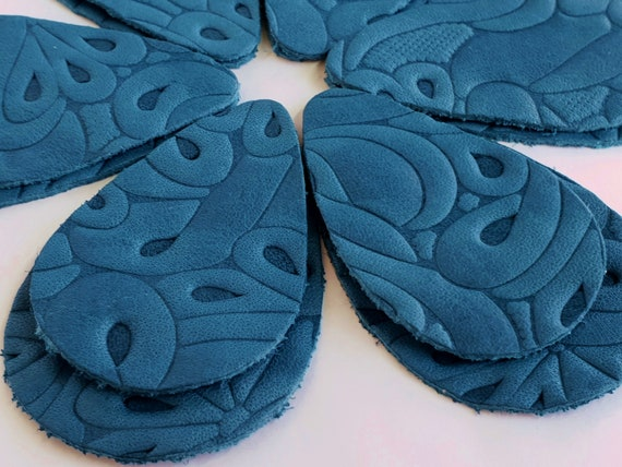 Denim Blue 12pcs  Leather Teardrops Embossed Blue Genuine Leather