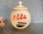 Fire King Grease Jar Vitrock Grease Jar with Flower Pots