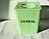 Vintage Jeanette Jadeite Jadite Glass Square Cereal Canister