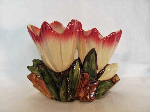 Mccoy Planter Low Double Tulip Vase 1950s Etsy