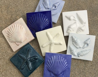 8 Colors IN STOCK, 3x3 SeaShore tiles in Sets of 3,  Shades of Blue & White GLOSS Glazes, Set A -- Starfish, Scallop Shell, 4Shells