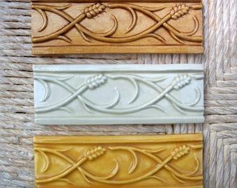 "Ceramic Tile -- Handmade -- 2"" x 6"" Wheat Border Relief Tile -- Made to Order"