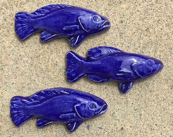 Ceramic Fish Tiles -- Set of 3 Small Fish tiles swimming right in Royal Blue Glaze, IN STOCK