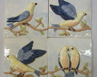 Birds on a Vine Handpainted Ceramic Tiles  -- Set of 4 -- Blues Version -- IN STOCK