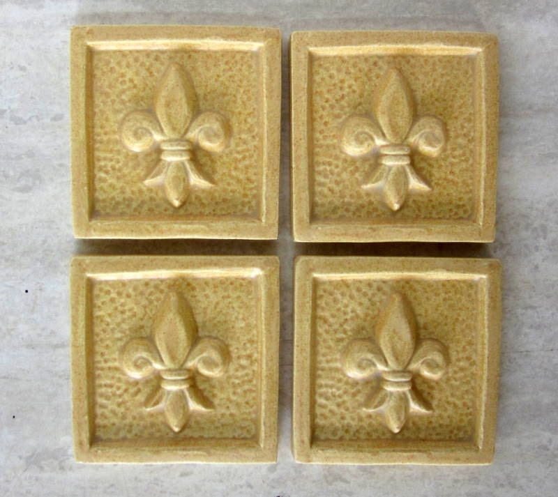 Handmade Ceramic Tile 3x3 Fleur De Lis Accent Tile Set Of Etsy