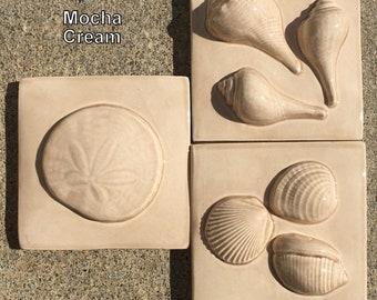 8 Glaze Colors IN STOCK, 3x3 SeaShore Set of 3 tiles in Green, Aqua and Tan Gloss Glazes, SET B -- SandDollar, ThreeWhelks, 3Shells