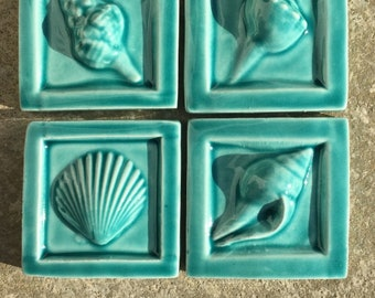 8 Colors IN STOCK 2x2 SeaShore Sets of Four Tiles in Green, Aqua and Tan Gloss Glazes