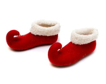 red elf felted slippers felt slippers wool felted slippers christmas slippers wool slippers handmade to order
