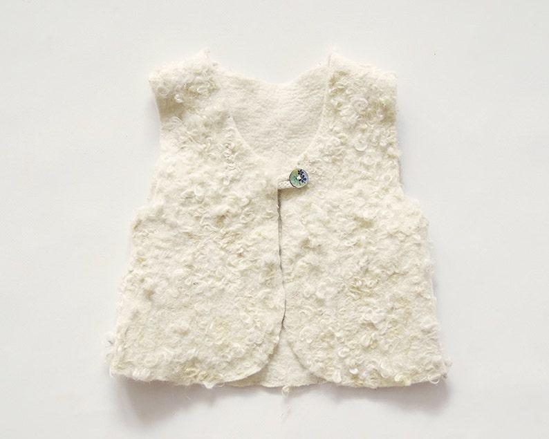 Felt Sherpa vest for girls  felt clothing  wool vest  fall image 0