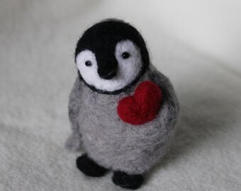 Needle Felted baby penguin Ornament - wants to give a heart