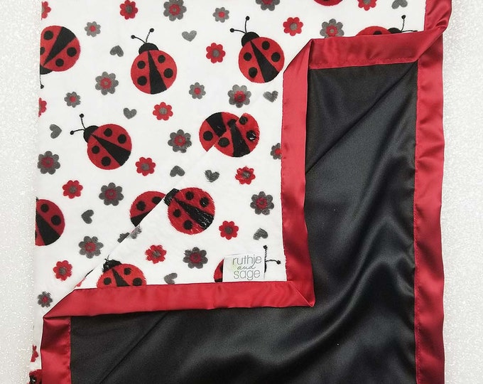 Minky Blanket, ladybug minky, gift for baby girl, silk blanket, minky and satin, baby blanket, baby girl, red and black, baby gift, shower