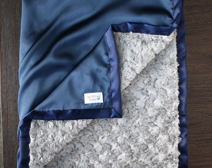 Minky Blanket, Baby Boy, Baby blanket, Navy and Grey, Satin Blanket, Silk Blanket, Plush Minky, Rose minky, Cowboys, Silver and Blue
