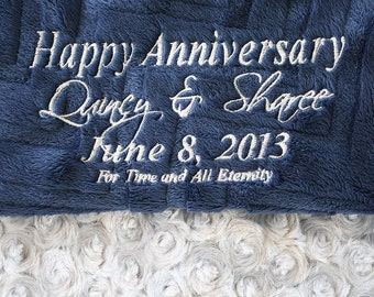 Embroidery, engraving, blanket with embroidery, personalized blanket, minky blanket, gift ideas, anniversary gift, anniversary ideas