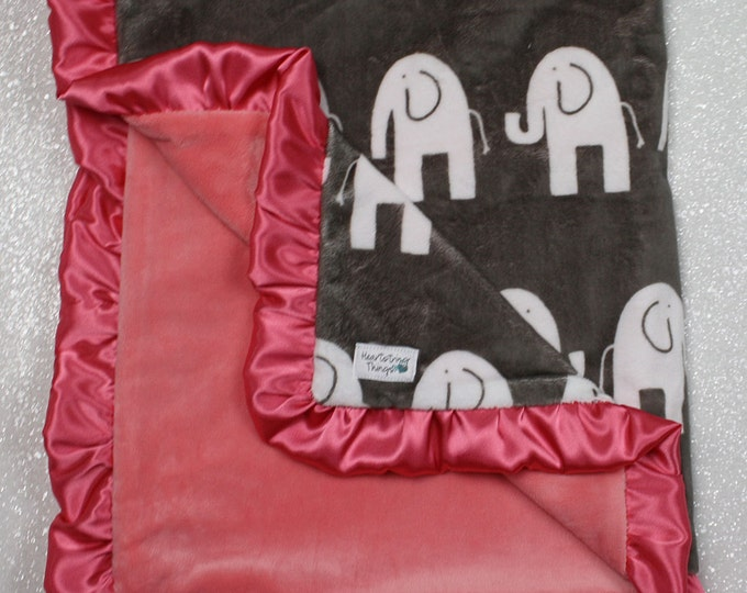 Coral minky, baby girl blanket, elephant blanket, elefante, girl elephant, Custom minky blanket, coral blanket, baby girl blanket, baby gift