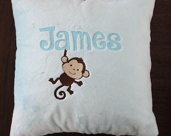 Nursery pillow, minky pillow, baby boy pillow, personalized pillow, crib bedding, crib pillow, nursery chair pillow, baby throw pillow