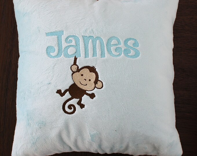Nursery pillow, minky pillow, baby boy pillow, personalized pillow, crib bedding, crib pillow, nursery chair pillow, baby throw pillow