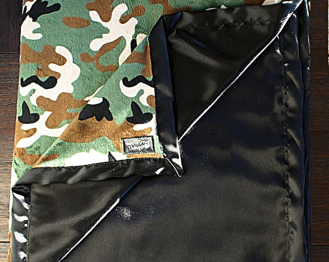 Minky Blanket, Hunting blanket, black satin, Camo minky, silky blanket , military blanket. blanket for men Oversized minky, adult blanket