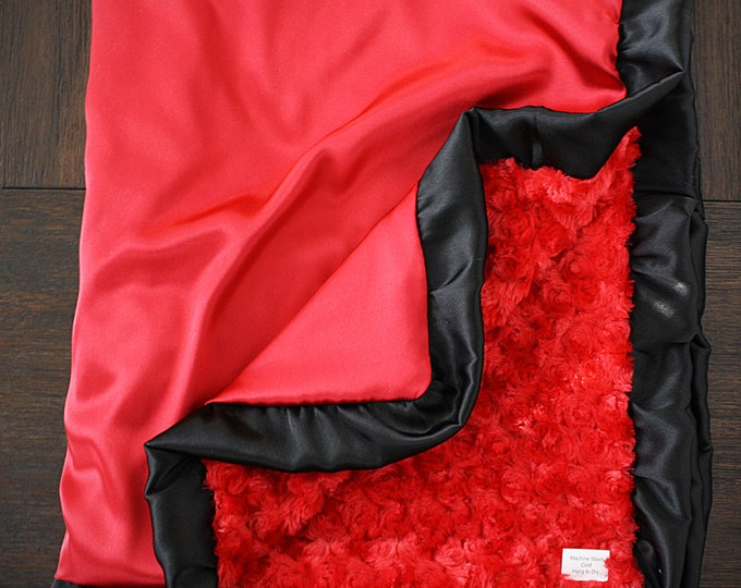 Minky Blanket, Adult minky, minky for dad, gift for men, red blanket, red and black, minky and satin, soft blanket blanket for boy