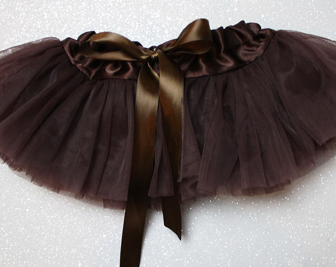 Baby Girl Pettiskirt, Pixie Skirt, Tutu, Ballerina Skirt, Newborn Outfit, photo shoot, Cake Smash Skirt, Birthday outfit, brown tutu