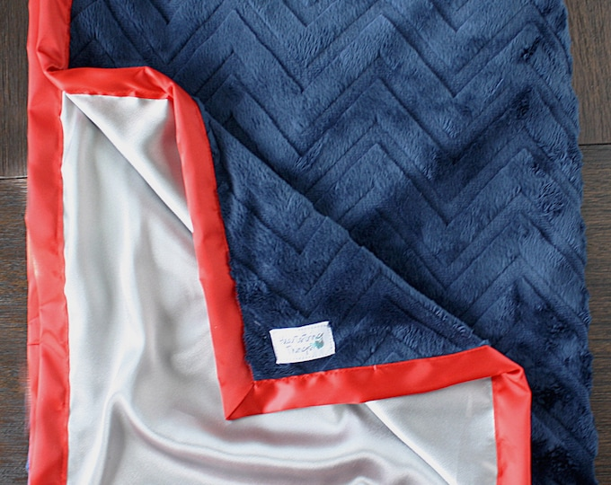 Custom Baby Blanket, Blue and red Blanket, Baby boy, Adult Minky, Child minky blanket, navy and grey blanket, patriots minky, red and blue
