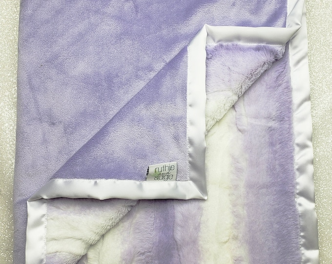 READY TO SHIP Minky blanket, baby girl blanket, baby gift, lavender and white, angora, purple blanket, Elegant Blanket, plush minky