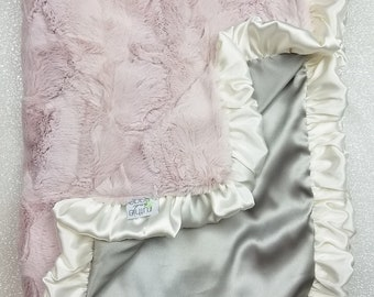 Minky Blanket, pink blanket, gift for baby, silk blanket, minky and satin, baby blanket, baby girl, ruffle, pink and grey rosewater hide