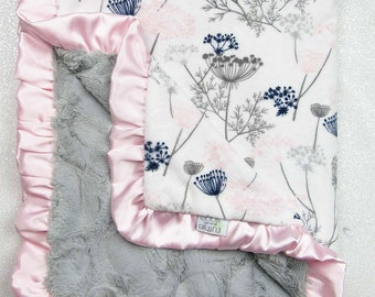 Minky blanket, baby girl blanket, baby gift, Floral blanket, Pink and grey, Custom minky blanket, Wildflower, Queens Annes Lace, blush minky