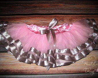 Chiffon Pixie Pettiskirt double lined with Satin Ribbon adapted from Petti Skirt for Baby or Child