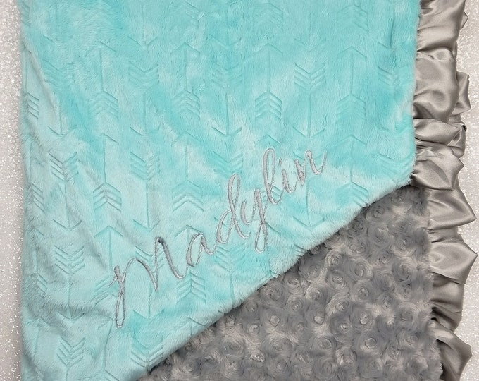 Embroidered Minky Blanket, Blanket with name, Personalized Blanket, Baby Gift, ,Aqua and Grey, Embossed Arrow, Saltwater arrow, luxe rose