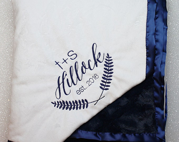 Embroidered Minky Blanket, wedding gift, adult minky, white and navy, floral wreath, personalized blanket, anniversary gift, engraved minky