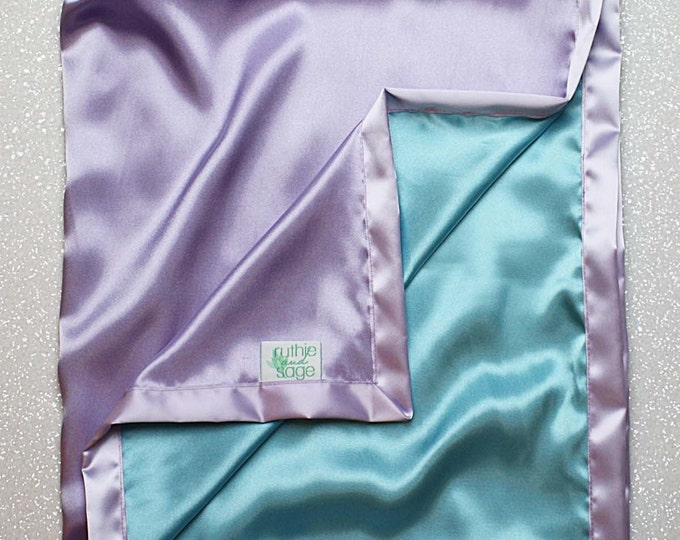 Satin blanket, charmeuse satin, double-sided satin blanket, satin, silky blanket, soft blanket, aqua and lavender, blue green, purple woobie