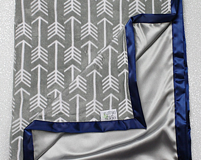 Minky Blanket, baby boy, navy blue and grey, arrow blanket, satin blanket, silk blanket anchor blanket, soft blanket baby gift, baby girl