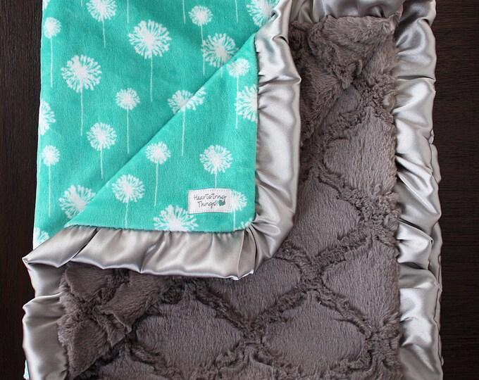 Minky Blanket, Dandelion Floral Blanket, Grey Lattice blanket Teal and Grey, Silver, baby girl blanket, blue green and grey, plush minky