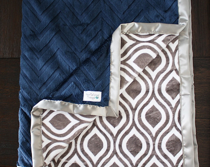 Minky Blanket, Baby boy, blanket for boy, gift for boy, custom blanket, soft blanket, Navy and Grey, Embossed chevron, oyster, navy and grey