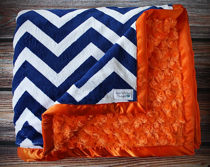 Navy Blue Minky Blanket, Chevron Minky, navy and cream minky, navy and orange, adult minky, baby blanket, broncos blanket, broncos minky