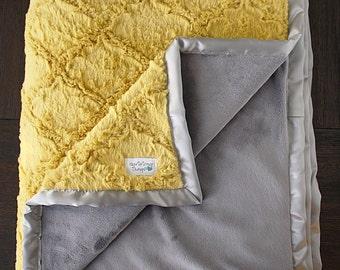 Minky Blanket, Baby Boy, Baby Girl, Unisex blanket, Plush blanket, Mustard Blanket, yellow and grey, Soft blanket, Blanket for adult, Woobie