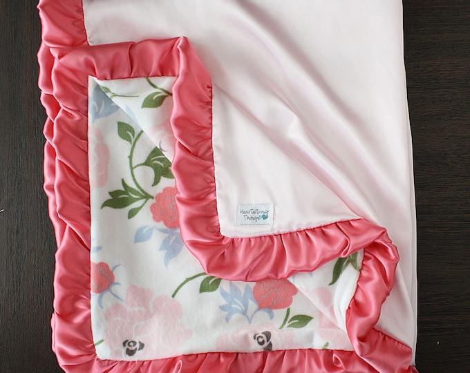 Minky Blanket, custom baby blanket, baby girl, baby gift, floral, flowers, crib bedding, ruffle, satin blanket, silk blanket, shabby chic