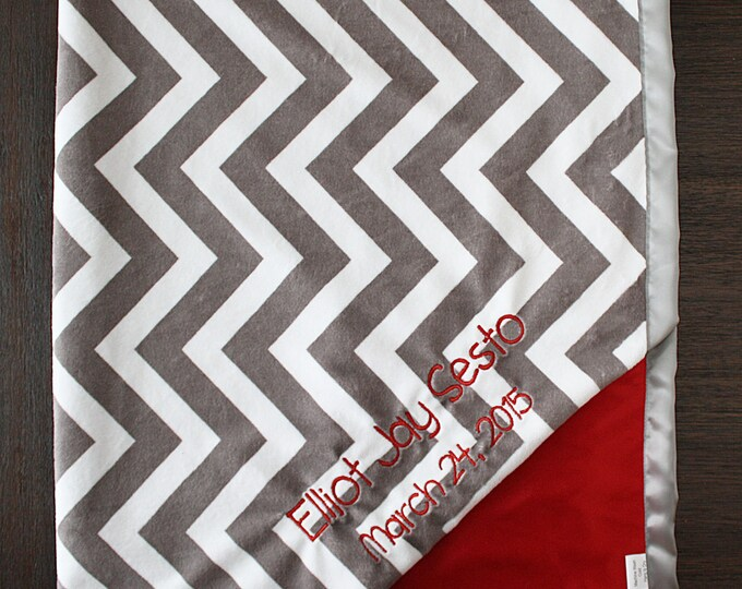 Embroidered Minky Blanket, baby gift, baby boy, personalized blanket, Blanket with name, chevron blanket, grey chevron, grey and red blanket