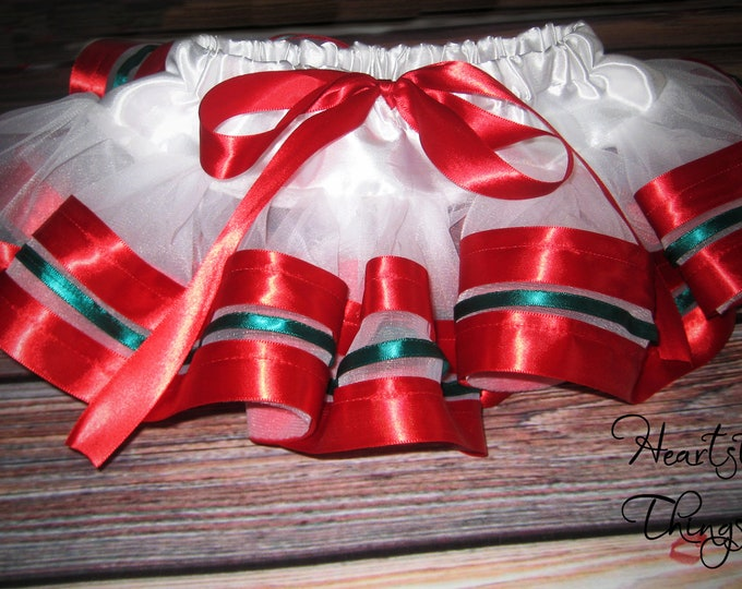 Triple Lined Christmas Ribbon Skirt with Soft Chiffon for Santa Pictures, Family Pictures, Christmas Parties, etc.