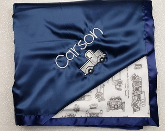 Customizable Minky Blanket, baby boy blanket, cars blanket, vintage cars, navy and grey, automobiles, baby blanket, personalized blanket