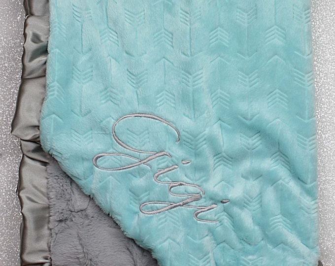 Embroidered Minky Blanket, gift for baby, baby girl, arrow, hipster blanket, ruffle personalized blanket, Blanket with name, aqua and grey