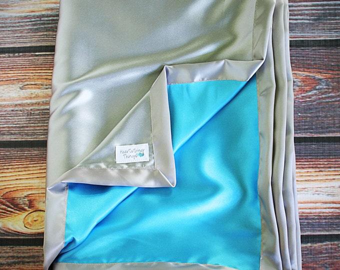 Satin blanket, Silk blanket, Silver Blanket, Grey Banket, silver and Turquoise, Baby Girl, Soft Blanket, silk woobie, soft blanket, aqua